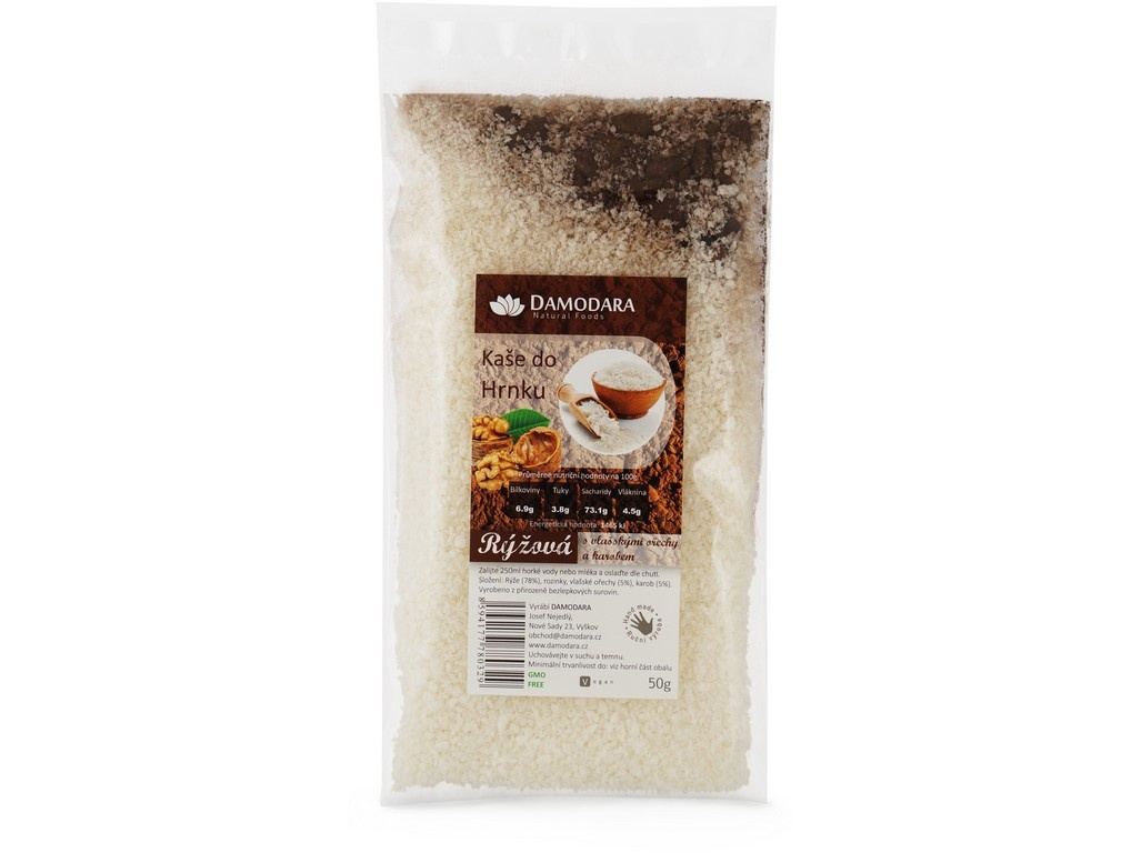 Instantní kaše do hrnku rýžová s vlašskými ořechy a karobem 50g