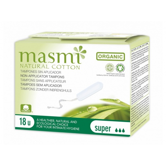 Tampony z organické bavlny Masmi, Super, 18 ks