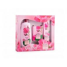 Dárkový set - sprchový gel, mýdlo, krém na ruce z růží 480g