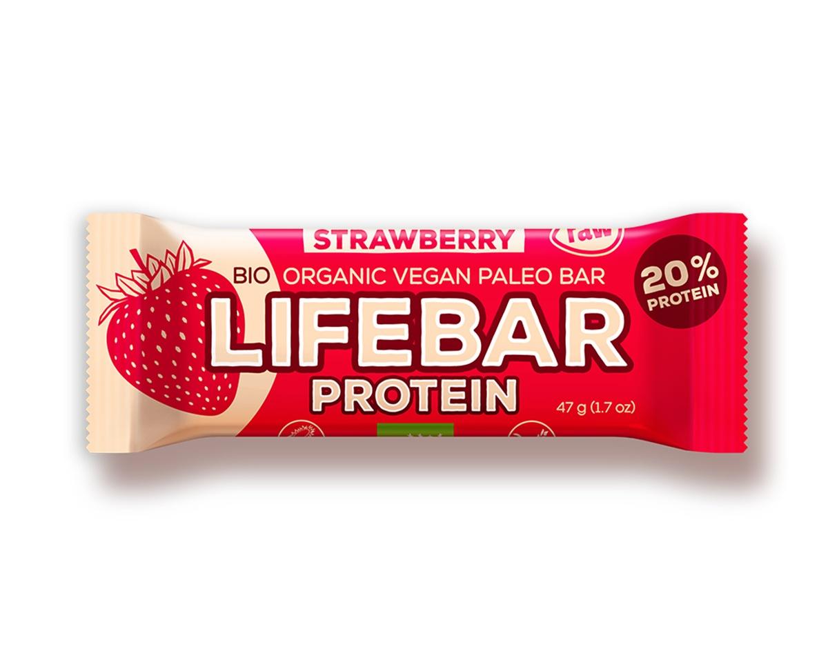 Lifebar Protein tyčinka RAW BIO 47 g - Strawberry