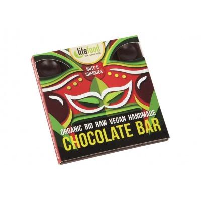 Bio čokoláda z nepraženého kakaa s kousky ořechů a třešní raw 35g