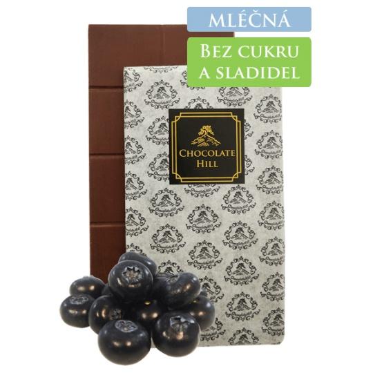 62% MLÉČNÁ čokoláda bez přidaných cukrů a sladidel (slazená borůvkami) 60 g