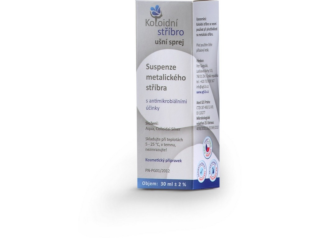 Koloidní stříbro sprej 30 ml Ušní aplikátor 40 ppm