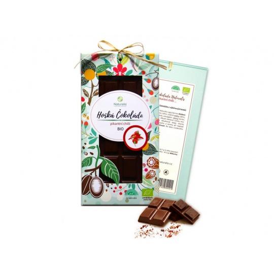 Bio čokoláda s chilli - hořká 80g