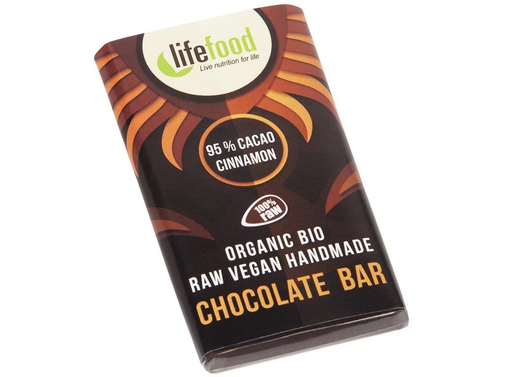 Bio Lifefood mini čokoládka 95% kakao a skořice 15g
