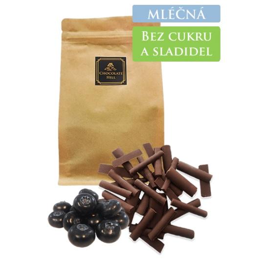 62% MLÉČNÁ čokoláda slazená borůvkami (bez cukru a sladidel) 100g