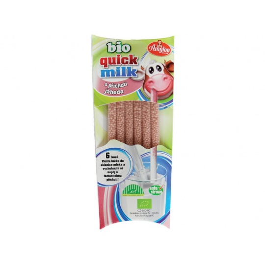 Bio Quick Milk Magická brčka do mléka s příchutí jahoda Amylon 6x6g