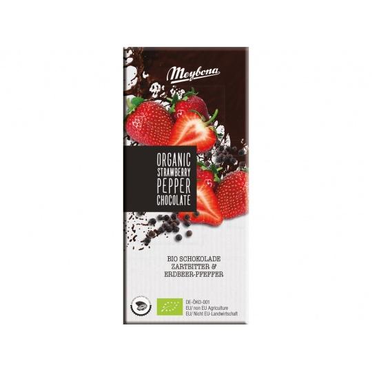 Bio Čokoláda hořká s jahodovými plátky a pepřem 52% 100g
