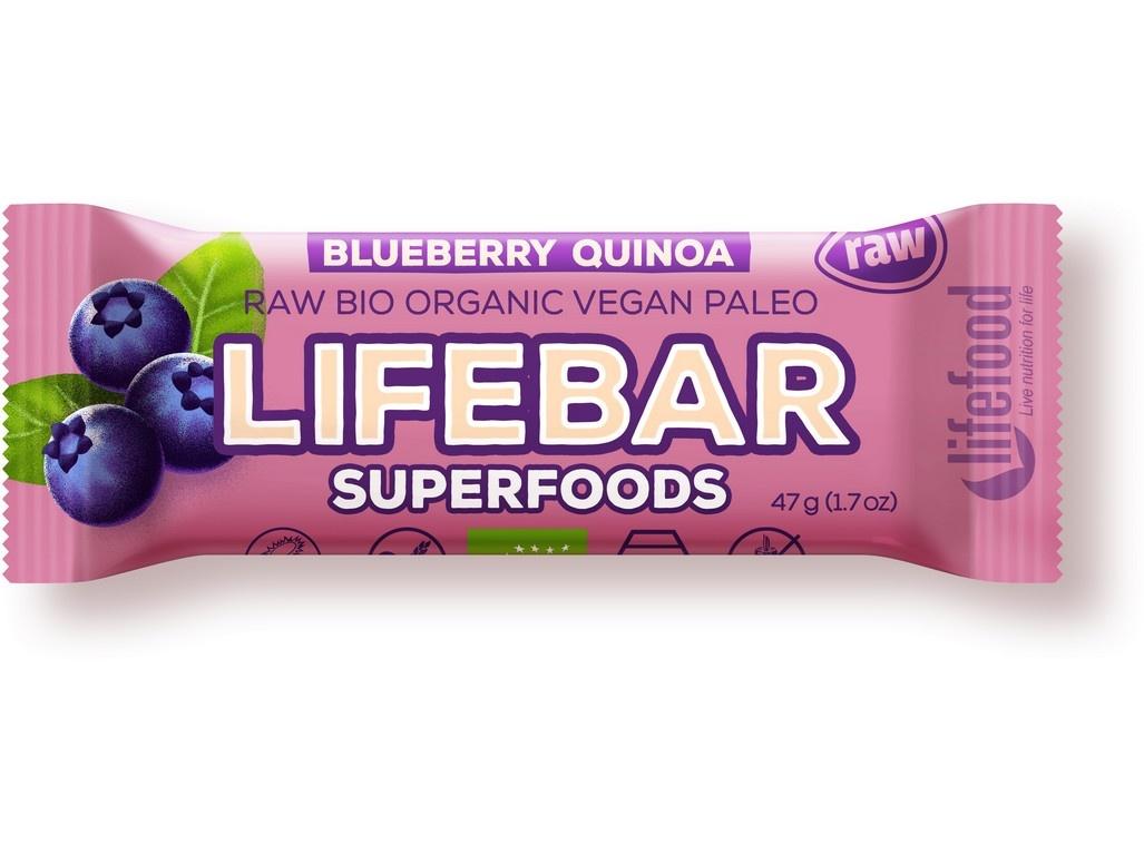 Bio tyčinka Lifebar Plus borůvka quinoa 47g