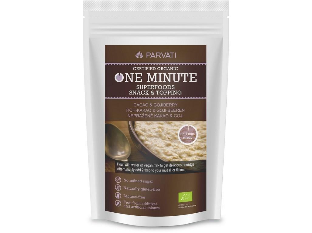 Bio Snídaňová směs One Minute Snack nepražené kakao-goji 300g