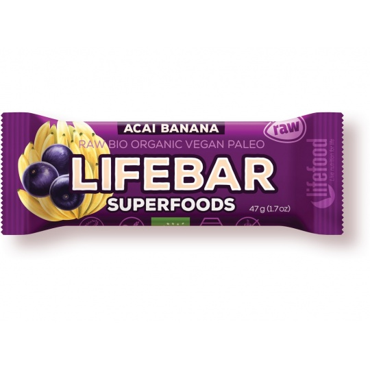 Bio tyčinka Lifebar Superfoods acai banán 47g