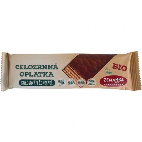 Bio celozrnná oplátka z jednozrnky kokosová v čokoládě 40g