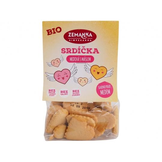 Bio medová srdíčka s máslem 100g