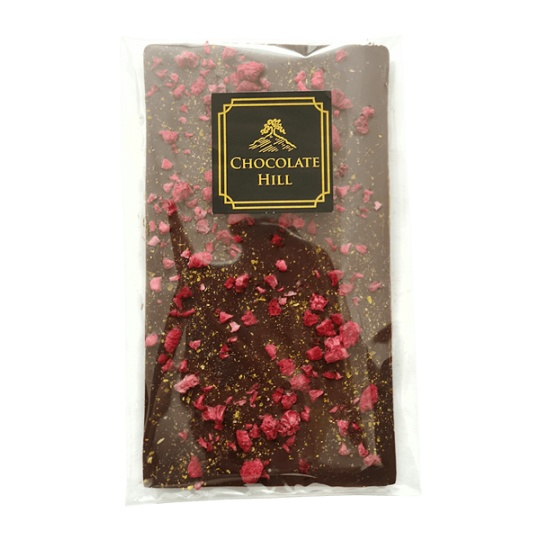 77 % čokoláda bez cukru s chilli a malinami 62,2 g