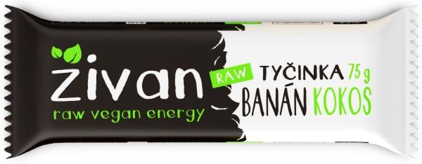 Datlová tyčinka ŽIVAN banán a kokos RAW MEGA SIZE 75 g