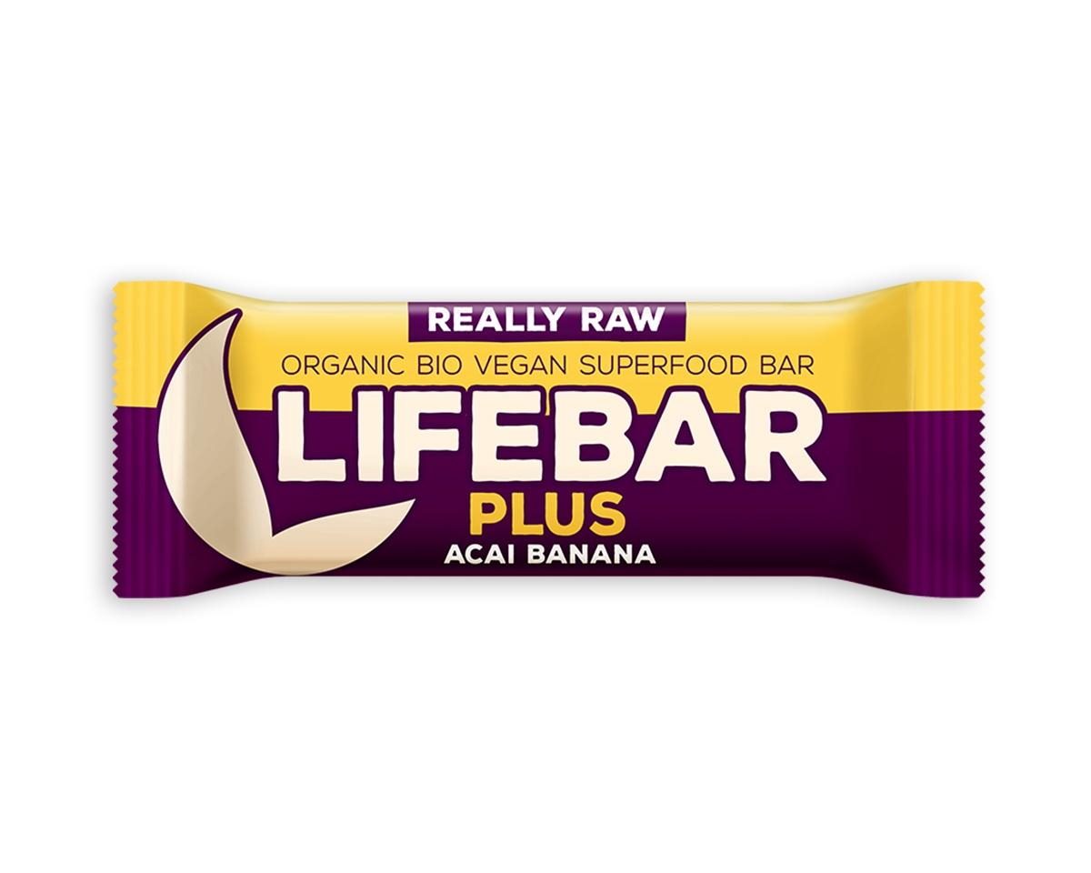 Lifebar Plus tyčinka RAW BIO 47 g -Acai Banana