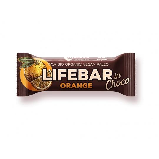 Bio tyčinka Lifebar InChoco Pomeranč 40g