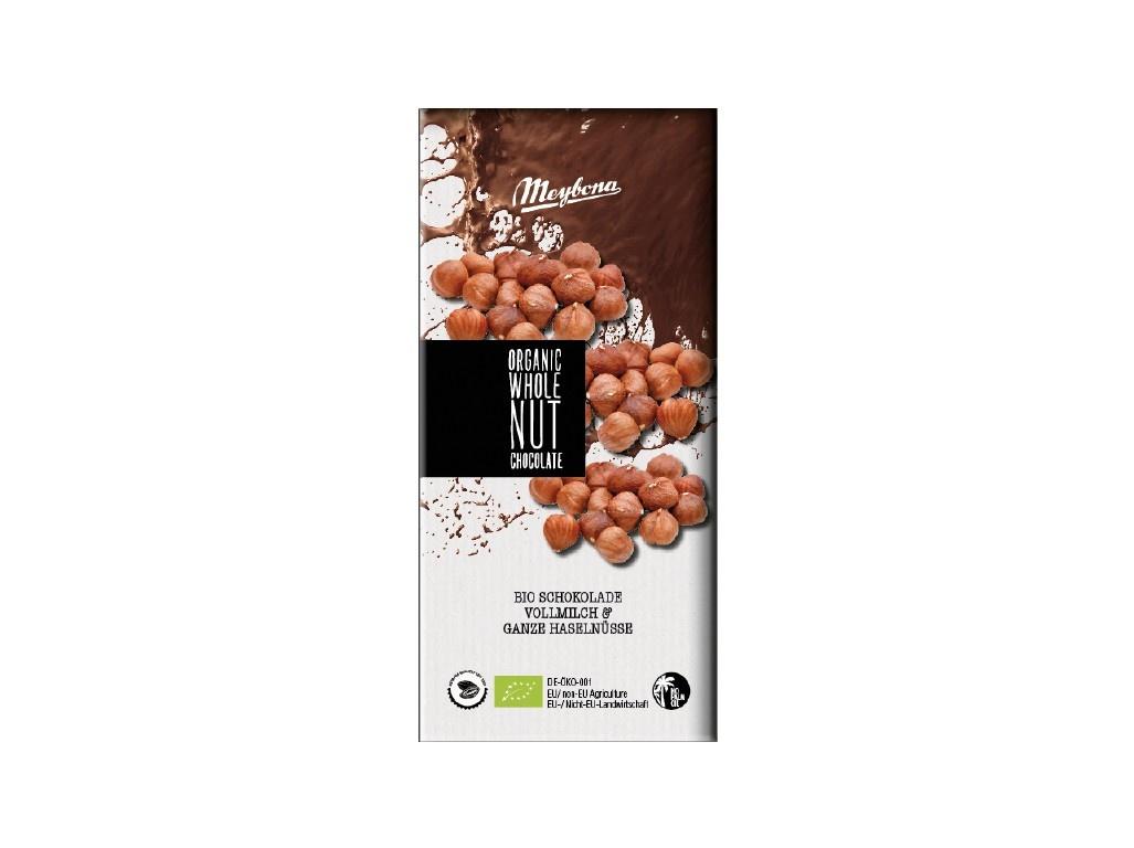 Bio mléčná čokoláda s celými lískovými oříšky 100g