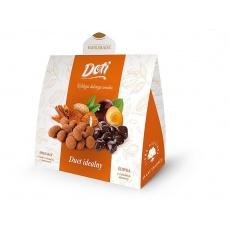Mandle vbílé čokoládě se skořicí, švestky včokoládě -  dárková taštička 2x60g