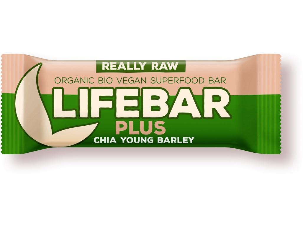 Bio tyčinka Lifebar Plus chia semínka a mladý ječmen 47g